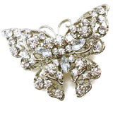 Antique Silver and Clear Crystal Butterfly Brooch