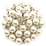 Pearl and Crystal Cluster Flower Brooch Bridal