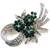 Crystal and Emerald Green Flower Corsage Brooch