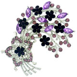 Amethyst Purple Crystal Floral Spray Brooch
