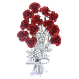 Red & Crystal Rose Flower Bouquet Brooch