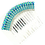 Bridal Hair Accessories - 5 Row Aqua Blue Crystal Hair Comb