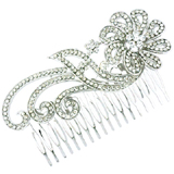 Bridal Hair Accessories - Silver & Crystal Large Spiral Flower Hair Comb