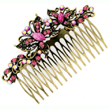 Hair Accessories Antique Gold and Pink Crystal Butterfly Hair Comb