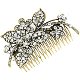 Oversized Antique Gold & Crystal Aster Flower Spray Hair Comb