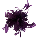 Large Purple Feather Corsage Hair Fascinator Brooch Accessory