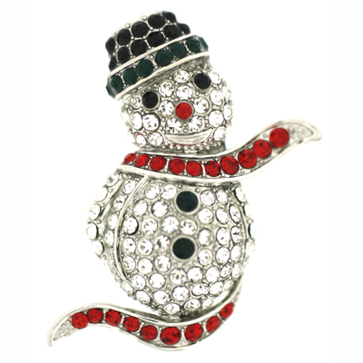 Clear Emerald Green & Siam Red Crystal Snowman with Hat & Scarf Brooch